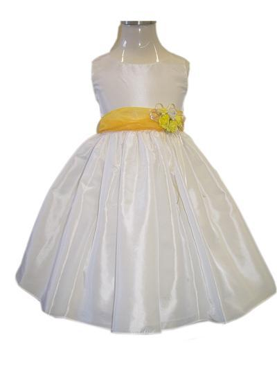 White/Yellow Flower Girl Party Dress