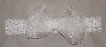 Organza Double Bow on Stretch Lace Headband