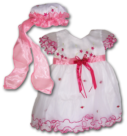 Little Girl Pink Party Dress and Hat