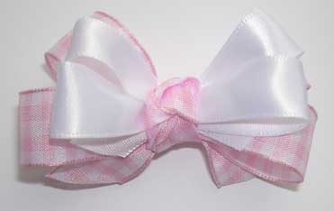 Sweet Gingham and Satin Double Bow